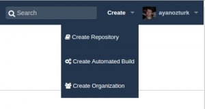 image showing menu link to create automated build on docker hub
